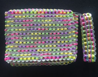 RECYCLED Can Tab Purse with wrist strap - MULTICOLOR