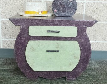 Purple Nightstand, purple night table, lamp table, table with drawers, purple and green end table, purple with green drawers, eggplant table