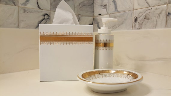 Vintage glam bath set white and gold porcelain by andre for White and gold bathroom accessories