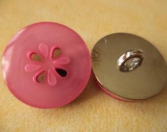 10 metal buttons pink metal 18 mm (5020) buttons