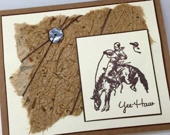 Cowboy Birthday Card, Bronc, Rodeo, Mixed Media, Handmade