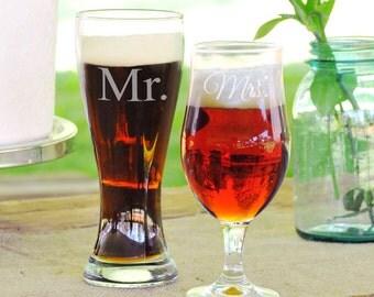 Personalized Mr. & Mrs. Pilsner Set