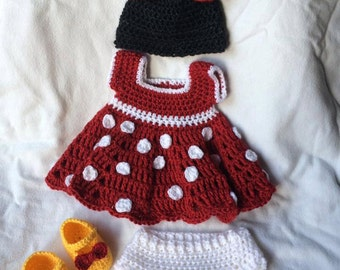 Newborn Crochet Minnie Mouse outfit