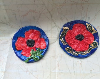 Small ceramic Poppy plaques