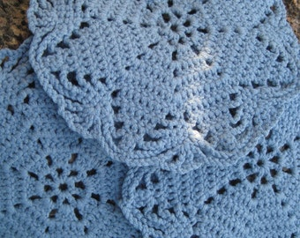 Best gift for grandma Blue doilies Small crochet Denim style Round doilies Home decor Nice gift for mom Table mat Coaster Mug rugs Napkin