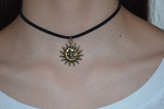 Moon and Sun choker necklace