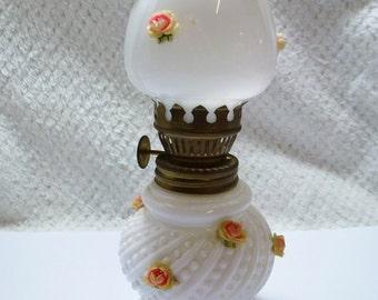 Vintage Small/Medium White Glass Based Oil/Kero Lamp