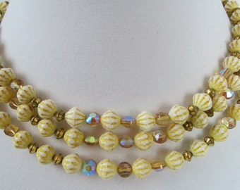 Vintage Carved Celluloid & Crystal Multi Strand Necklace