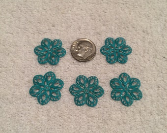 5 small patina filigree flowers