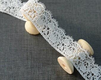 "10 yard 2.5cm 0.98"" wide ivory embroidery lace trim trims ribbon L22K202 free ship"