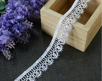 "15 yard 2cm 0.78"" wide ivory embroidery lace trim ribbon L22K245 free ship"