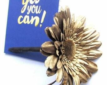 2 Gold Silk Floral Pens