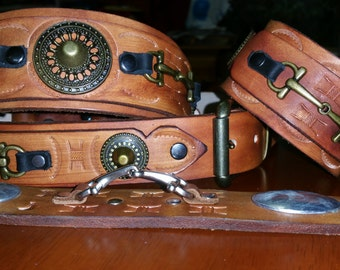 leather dog collar + leather leash or belt