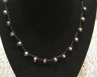 Dark grey black fresh water pearl necklace