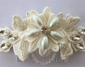 Ivory Crystal Pearl Hair Comb Bridal Hairpiece