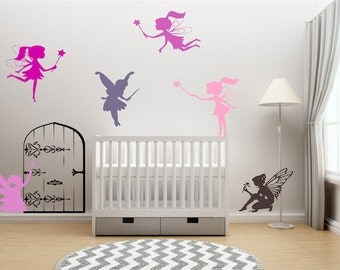 Fairies-Fairy Door-Fairy Princess Vinyl Wall Decal-Nursery Wall Quote-Baby-Girls Room-Daughter-Decor