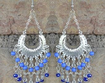 Silver and Blue Chandelier Earrings with Beads