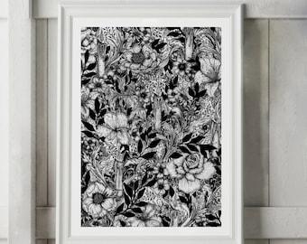 Gothic Art, Botanical Illustration, Occult Art, Ink Drawing, Black White Print, Black White Art, Drawing Illustration, Witch Art, Art Print