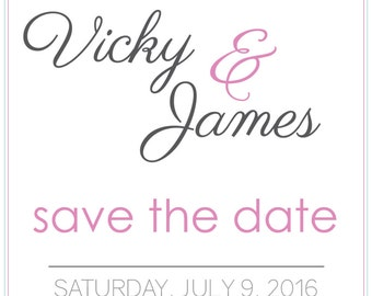 Pink and Blue Save the Date - PDF Download