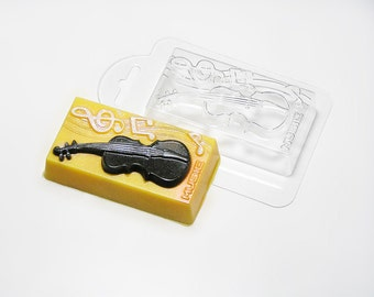 Music mold, plastic mold, music soap, musical instrument, music instrument, cello mold, cello soap, gift for musician, violin mold