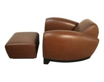 Art Deco Leather Chairs With Ottoman