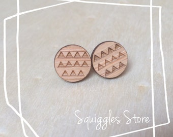 Hypoallergenic Stud Earrings with Titanium Posts - Bamboo Round Etched Tiny Triangles - Sensitive  Ears