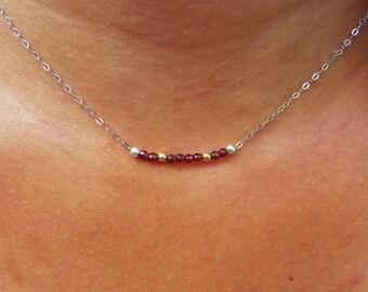 Garnet necklace - 925 Silver & gold (gold filled 14 k)
