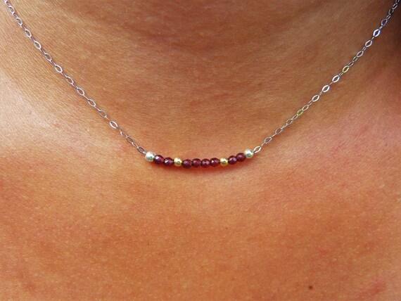 Garnet necklace - Silver 925 & gold (gold filled 14 k)