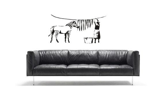 Wall Art Washing Line : Banksy zebra washing line vinyl wall art sticker decal