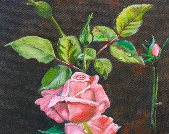 Single Pink Rose with Buds - Print