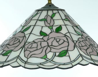 Vintage Pale Pink Roses Stained Glass Lampshade