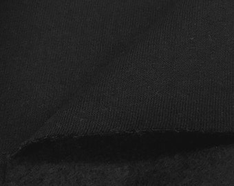 Cotton Blend Fleece Fabric By the Yard (Wholesale Price Available By the Bolt) - 8021 Black - 1 Yard