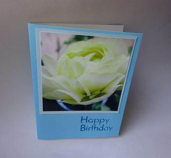 Handmade Birthday Card with Cream Ranunculus Flower - #1286