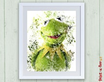 Kermit Muppets print, Muppet Show instant download digital print, Kermit plush toy, Kermit the frog Muppets poster nursery decor