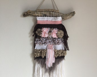 White Pale Pink Brown Wool Woven Wall Fringed Hanging Panel