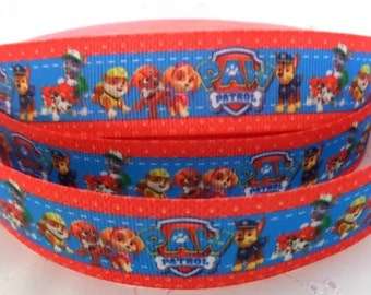 1m Paw Patrol Dogs Logo Red Edge design Grosgrain Ribbon 25mm hair bows bands cake gift wrap scrapbook dummy clip holder