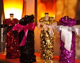 Sequin Wine Bottle Bags for Party Favors | Hostess Gift | Bridal Shower | Weddings