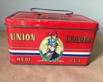 Rare Union Leader Redi Cut Tobacco Tin 1920s Rare
