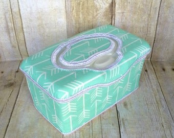 Mint with white arrows baby wipe case, flip top, diaper bag, diaper bag, baby shower gift, wipe case