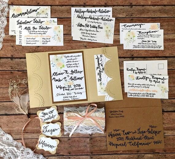 Unique wedding invitation, handmade pocketfold invitation, gold boho printed invitation set, lace theme invitation with pocket, DIY wedding