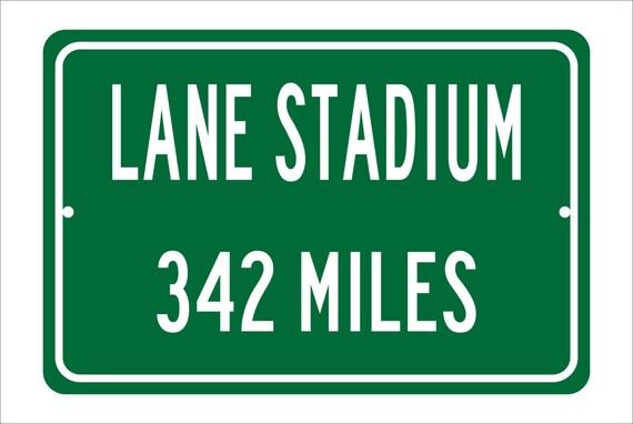 Custom College Highway Distance Sign to Lane Stadium   Home of the Virginia Tech Hokies   Personalized Distance to Lane Stadium   VT Hokies