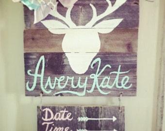 AVERY KATE: Baby girls rustic deer hospital annoucement