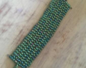 Wide Mosaic Beaded Bracelet