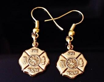 very nice BRASS STAMPING Bronze Plated FIRE Rescue  symbol hypoallergenic pierced  earrings /U18