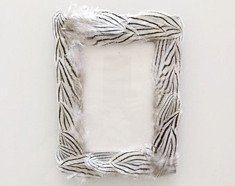Handmade Silver Pheasant Feather Frame - 4x6