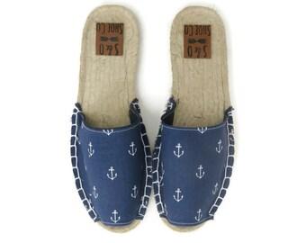Womens navy anchor espadrilles - nautical shoes - anchor sandals - womens shoes - womens sandals - womens espadrilles - monogram