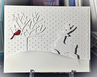 White on white deer and cardinal card