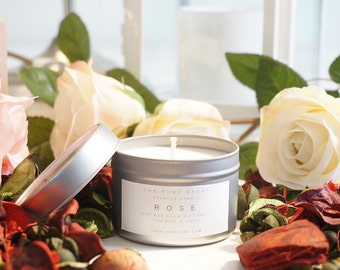 100% Pure Soy wax Scented Candle - Rose from The Pure Scent - Handmade and Hand Poured In London