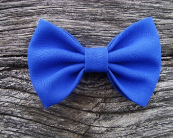 Bow tie brooch pin royal blue