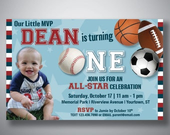 ALL STAR Sports PRINTABLE Birthday Invitation